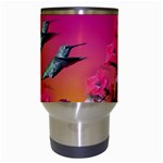 Two Hummingbirds in flight Travel Mug (White) from Hummingbird and Butterfly Gifts Center