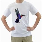 Rainbow Hummingbird Men s T-Shirt (White) (Two Sided)