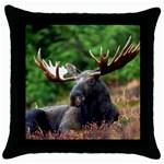 Majestic Moose Black Throw Pillow Case