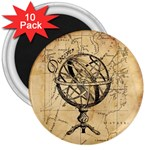 Discover The World 3  Button Magnet (10 pack)