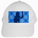 Blue Knight On Plaid White Baseball Cap