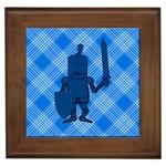 Blue Knight On Plaid Framed Ceramic Tile