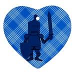 Blue Knight On Plaid Heart Ornament