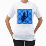 Blue Knight On Plaid Women s Two-sided T-shirt (White)
