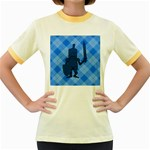 Blue Knight On Plaid Women s Ringer T-shirt (Colored)