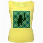 Blue Knight On Plaid Women s Tank Top (Yellow)