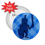 Blue Knight On Plaid 2.25  Button (100 pack)