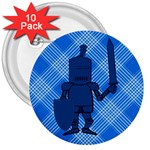 Blue Knight On Plaid 3  Button (10 pack)