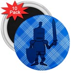 Blue Knight On Plaid 3  Button Magnet (10 pack)