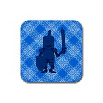 Blue Knight On Plaid Drink Coaster (Square)