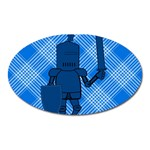 Blue Knight On Plaid Magnet (Oval)