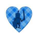 Blue Knight On Plaid Magnet (Heart)
