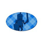 Blue Knight On Plaid Sticker 100 Pack (Oval)