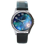 Amazing Universe Round Leather Watch (Silver Rim)