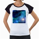 Amazing Universe Women s Cap Sleeve T-Shirt (White)