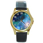 Amazing Universe Round Leather Watch (Gold Rim)