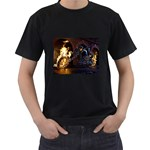 Dark Motorcycle Demon on Fire Black T-Shirt