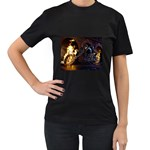 Dark Motorcycle Demon on Fire Women s Black T-Shirt