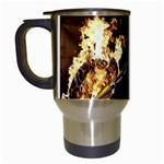 Dark Motorcycle Demon on Fire Travel Mug (White)