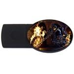 Dark Motorcycle Demon on Fire USB Flash Drive Oval (4 GB)
