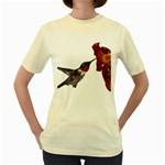 Ruby Throated Hummingbird Women s Yellow T-Shirt