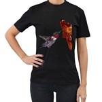 Ruby Throated Hummingbird Women s T-Shirt (Black) (Two Sided)