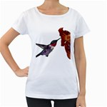 Ruby Throated Hummingbird Women s Loose-Fit T-Shirt (White)