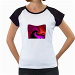 Rose and Black Explosion Fractal Women s Cap Sleeve T