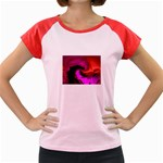 Rose and Black Explosion Fractal Women s Cap Sleeve T-Shirt