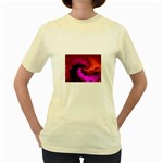 Rose and Black Explosion Fractal Women s Yellow T-Shirt