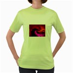 Rose and Black Explosion Fractal Women s Green T-Shirt