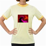 Rose and Black Explosion Fractal Women s Fitted Ringer T-Shirt