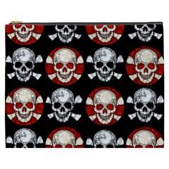 Red Black Skull Polkadots  Cosmetic Bag (xxxl) by OCDesignss