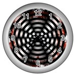 Zombie Apocalypse Warning Sign Wall Clock (Silver)