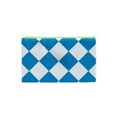 Harlequin Diamond Argyle Turquoise Blue White Cosmetic Bag (xs) by CrypticFragmentsColors