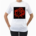 Red Rose Etching On Black Women s Two-sided T-shirt (White)