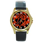 Red Rose Etching On Black Round Leather Watch (Gold Rim)