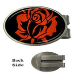 Red Rose Etching On Black Money Clip (Oval)