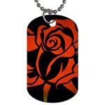 Red Rose Etching On Black Dog Tag (One Sided)