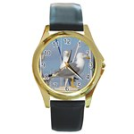 Je 002 116  Jacquei Essex Two Gulls At Rest Round Gold Metal Watch