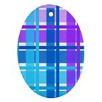 Blue & Purple Gingham Plaid Oval Ornament