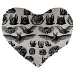 Haeckel Chiroptera Large 19  Premium Flano Heart Shape Cushion