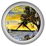 Amelia s Lighthouse -AveHurley ArtRevu.com- Wall Clock (Silver)