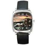 Kerry s Lighthouse - Ave Hurley - Square Metal Watch