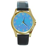 Textured Blue & Purple Abstract Round Leather Watch (Gold Rim)