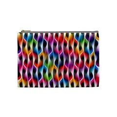 Rainbow Psychedelic Waves Cosmetic Bag (medium) by KirstenStar