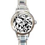 Shattered Life In Black & White Round Italian Charm Watch