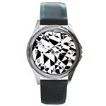 Shattered Life In Black & White Round Leather Watch (Silver Rim)