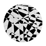 Shattered Life In Black & White Round Ornament