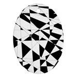 Shattered Life In Black & White Oval Ornament